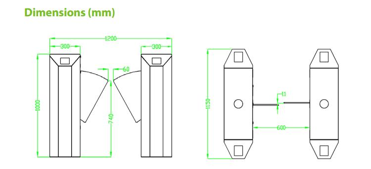 เครื่องกั้นทาง,เครื่องกั้นปีกผีเสื้อ,เครื่องกั้นปีกนก,ประตูรถไฟฟ้า,ประตูบีทีเอส,Flap Barrier,wing gate,ZK-FBL2000/2200