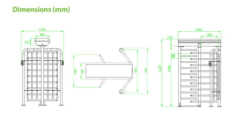 FULL,HEIGHT,เครื่องกั้นทาง,ประตูหมุนเต็มบาน,ประตูหมุนสูงโปร่ง,เครื่องกั้นทาง,ประตูกั้นทาง,ZK-FHT2300
